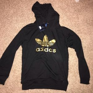 Adidas black and gold hood